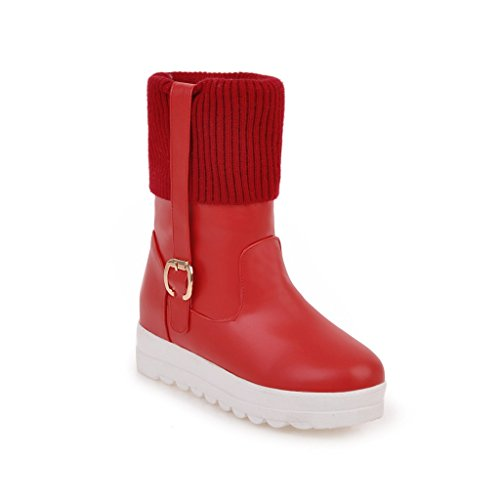 Womens Velvet Thick Red Boots Heel Shine Buckles Lining Show Snow FwOq5x6EE