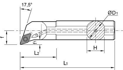 DCMT 0702.. mit Innenk/ühlung 1 St/ück ISO Stahl Bohrstange /Ø10mm A10H SDQCR 07 f/ür Wendeplatten DCGT
