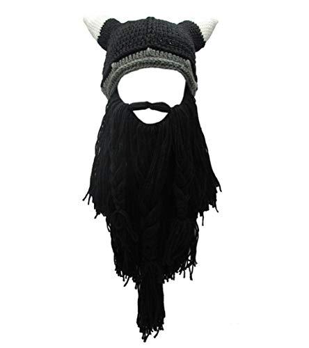 MerryJuly Men's Head Barbarian Vagabond Beanie Original Foldaway Beard Hats Halloween Viking Horns Bearded Caps (Viking Horns&Black Beard) -
