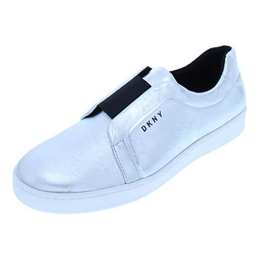 DKNY Womens Bobbi Leather Metallic Fashion Sneakers Silver 6.5 Medium (B,M)