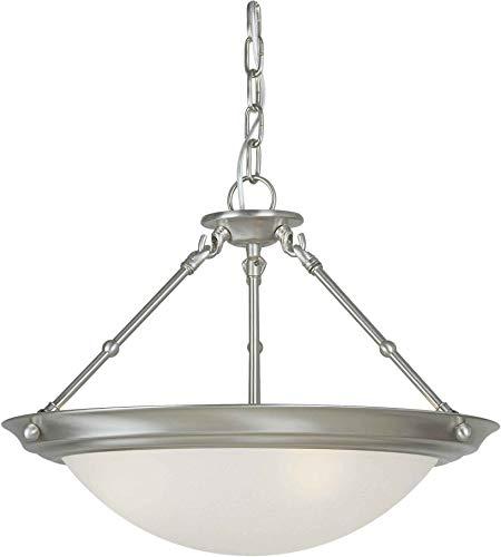 (Forte 2515-03-55 Three Light Convertible Flush Mount, Brushed Nickel Finish White Linen Glass )