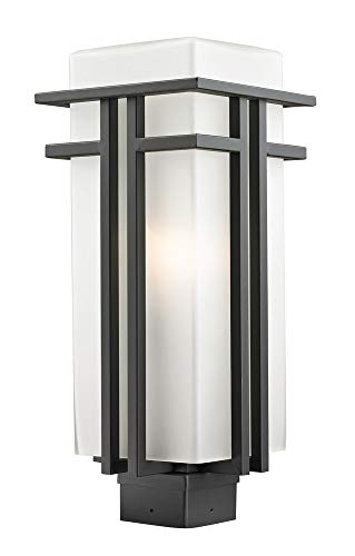 Abbey Post Lantern - Z-Lite 550PHB-ORBZ Outdoor Post Light with Oil Rubbed Bronze Finish and Glass, Matte Opal