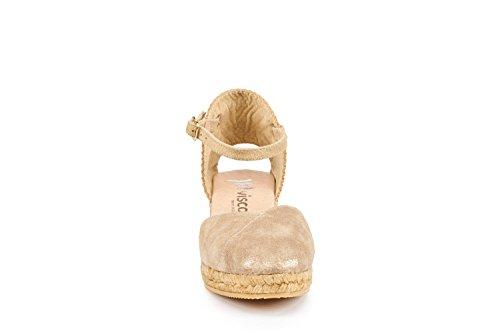 Viscosa In Pelle Pubol 2 Zeppa, Cinturino Alla Caviglia, Punta Chiusa, Classico Espadrillas Tacco Made In Spain Goldsheen