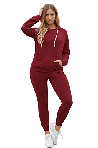 Fixmatti Women Pocket Hoody Sweatshirt Long Pant Jogging Sweatsuit Ruby XL
