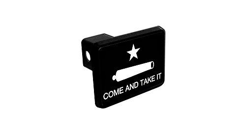 Battle Flag Square (The Three Percenter Trailer Hitch Cover - Texas Revolution Come & Take It Flag (Black and White))