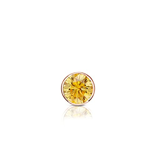 14k Rose Gold Bezel-set Round Yellow Diamond Men SINGLE STUD Earring (1/8ct,Yellow,I1-I2)