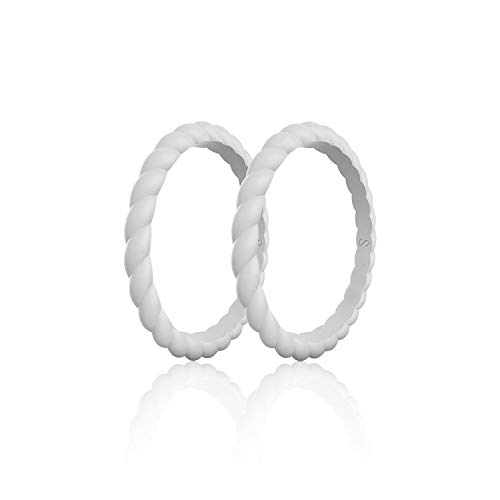 (SANXIULY Womens Functional Silicone Ring&Rubber Wedding Bands for Workout and Sports Width 3mm Pack of 2 Color Grey Size 8)