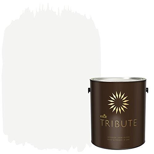 2 Emerald Gloss - KILZ TRIBUTE Interior Semi-Gloss Paint and Primer in One, 1 Gallon, Contemporary White (TB-02)