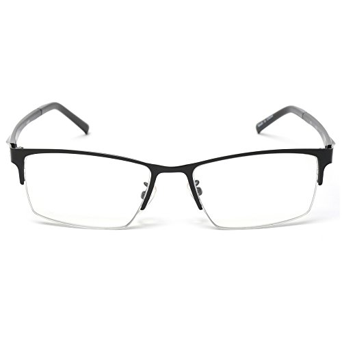 MIDI Blue Light Blocking Half Rim Reading Glasses for Men (M-309) Shipped with a Portable Soft Case (+2.00, - Glasses Jin