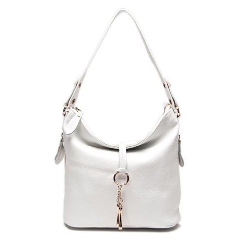 2018 New Fashion Designer Women Shoulder Bag Metal Tassel 100% Real Leather Tote Handbag Ladies Crossbody (White) ()