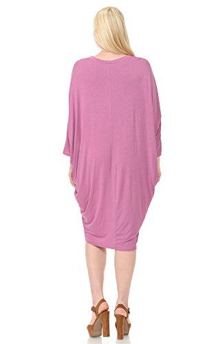Draped Mauve Plus Women's Dress Side Vivienne Pastel Sleeves by Dolman PITxf