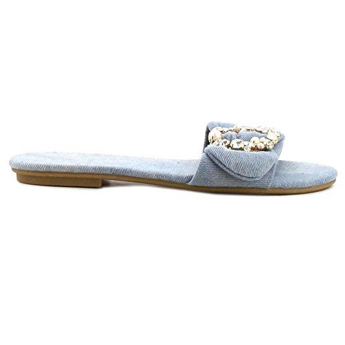 Women's Simple Embroidered Strap Slide Flat Slipper Sandal (Denim (Jeweled Womens Jeans)