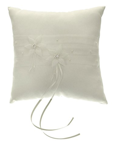 DivaDesigns Chiffon Flower Organza Pearl Crystal Square Wedding Ring Pillow Ivory