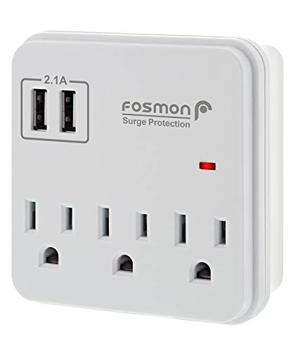 Fosmon 3 Outlet Surge Protector with 2.1A USB Ports, 900J 1875 Watts, Mini Outlet Wall Mount Adapter Extender, 3-Prong…