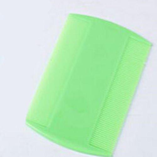 MIJORA-3 Pcs 4 Colors Narrow Tooth Comb Lice Flea Flat Brush Delousing Rid Head Comb(green)