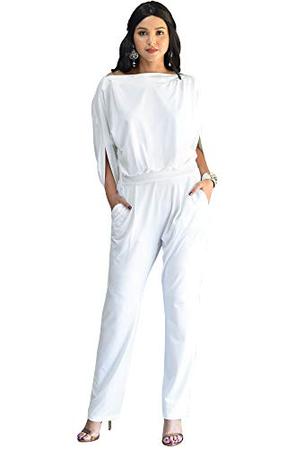 KOH KOH Womens Short Sleeve Sexy Formal Cocktail Casual Cute Long Pants One Piece Fall Pockets Dressy Jumpsuit Romper Long Leg Pant Suit Suits Outfit Playsuit, White L 12-14