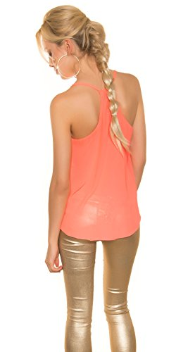 Fashion - Camiseta sin mangas - Básico - Sin mangas - para mujer Coral