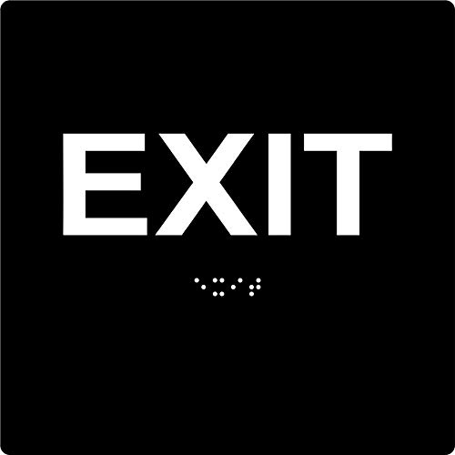 """ADA EXIT Braille Sign, 6""""x6"""", Double Sided VHB Tape (Black/White)"""
