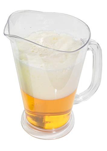 ARAD Clear Plastic 64 Oz. Beer Pitcher, Great for Iced Tea, Water and Juice, Restaurant Style, Perfect for Home and Business, Shatter - 64 Ounce Plastic Pitcher