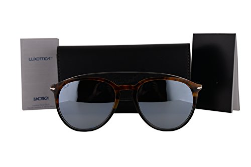Persol PO3159S Sunglasses Havana Gray Silver w/Blue Mirror Silver Lens 904430 PO - 3019s Polarized Persol
