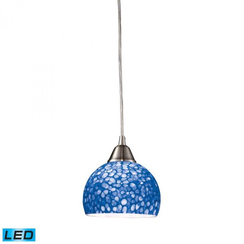 Elk 10143/1PB-LED CIRA 1-LED Light Pendant with Pebbled Blue Glass Shade, 6 by 6-Inch, Satin Nickel Finish ()