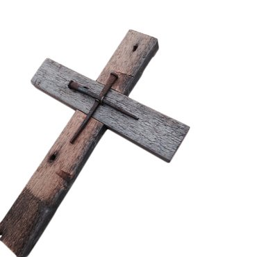 Wall Cross Reclaimed Wood with Rustic Nails for Home or Church. ()