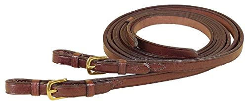 TORY LEATHER Split Reins with Brass Buckle Bit Ends Buckle End Split Reins