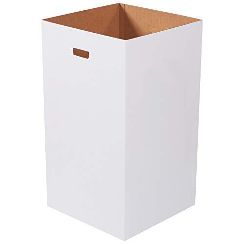 """Corrugated Trash Can Plain, 50 Gallon, 18"""" x 18"""" x 36"""", White, 10/Bundle"""