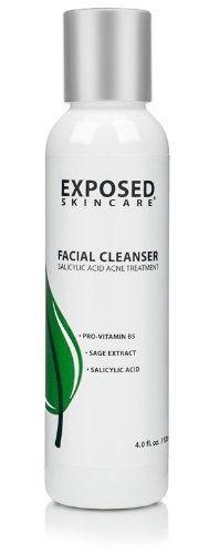 Acne Facial Cleanser by Exposed Skin Care, Salicylic Acid .5% for Teens and Adults, 4 ounces