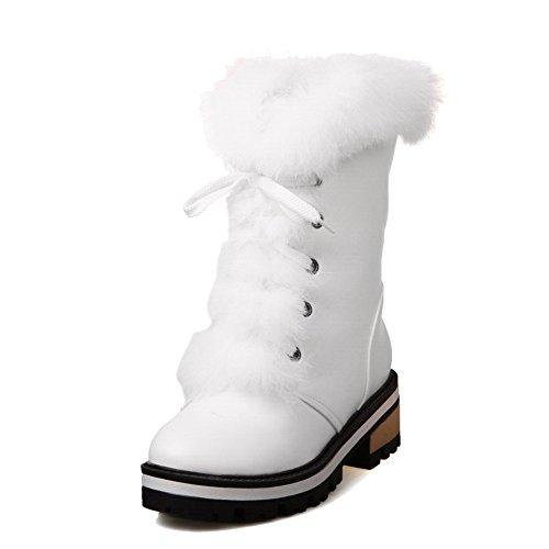 AllhqFashion Damen Blend-Materialien Rund Zehe Mittler Absatz Niedrig-Spitze Stiefel, Weiß, 36
