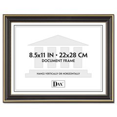 DAX N2709N6T Gold-Trimmed Document Frame w/Certificate, Wood, 8 1/2 x 11, Black