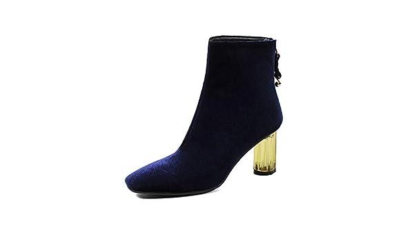 Botines de tacón Cuadrado con Punta Cuadrada para Mujer, Botines Cortos, Azul, 38: Amazon.es: Zapatos y complementos