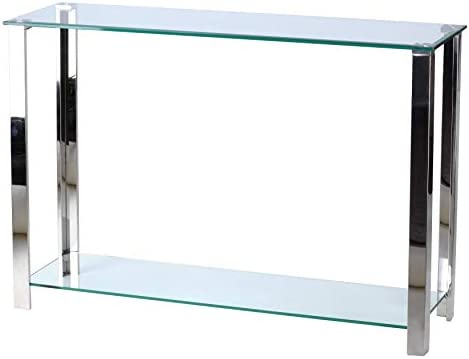 Cortesi Home Melissa Double Shelf Glass Metal Console Table, Silver