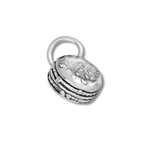 Sterling Silver 3D Hamburger or Cheesburger Charm Item #36018