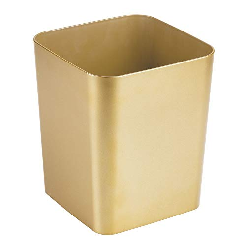 mDesign Square Shatter-Resistant Plastic Small Trash Can Wastebasket, Garbage Container Bin for Bathrooms, Powder Rooms, Kitchens, Home Offices - Soft Brass ()