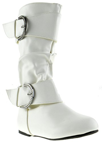 Bella 6 Little Girls Slouch Mid Calf Boots White (Slouch Buckle Boots)