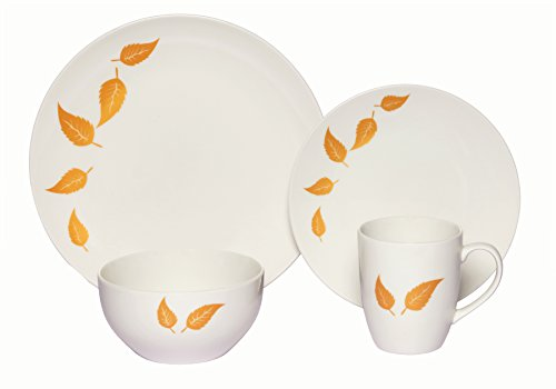 Melange Coupe 32-Piece Porcelain Dinnerware Set (Gold Leaves) | Service for 8 | Microwave, Dishwasher & Oven Safe | Dinner Plate, Salad Plate, Soup Bowl & Mug (8 Each)
