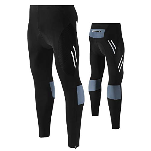 Youngshion Men's Outdoor Compression Bicycle Long Pants 3D Padded Cycling Tights Leggings Trousers