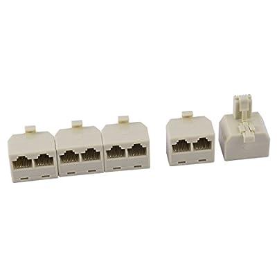uxcell RJ45 8P8C Keystone 1 Male to 2 Female Port Network Cable Coupler Ethernet Splitter 5pcs Beige
