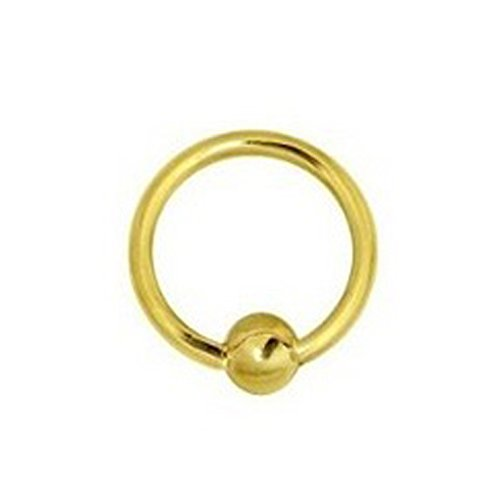 Ritastephens 14K Solid Yellow Gold Nipple Ring Captive Bead Body Jewelry 14G ()
