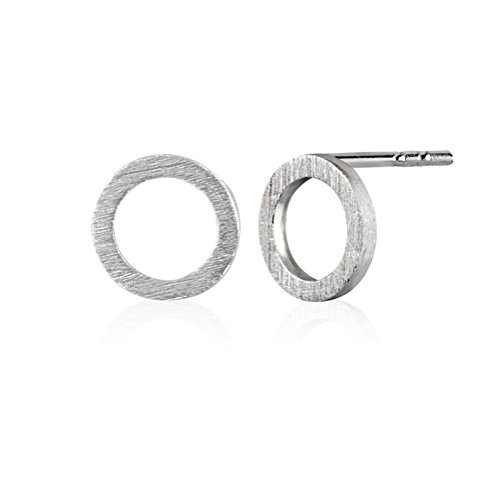 925 Sterling Silver Matte Finish Open Round Circle Modern Geometric Stud Earrings, 8mm (Silver Earrings Circle Sterling Open)