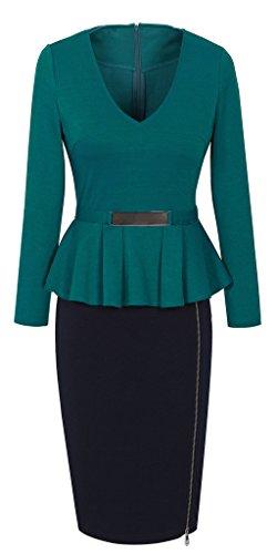 Lato Vestito Nero Turchese Collo V Dal B241 Donna Matita Homeyee Peplum Del Zipper fRwqxxtOd