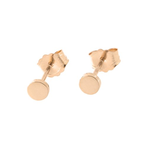Automic Gold Solid 14k Rose Gold Circle Earrings, 3mm ()