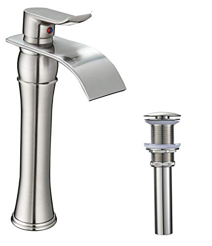 BWE Waterfall Spout Single Handle One Hole Bathroom Vessel Sink Faucet Brushed Nickel Tall Body Matching Pop Up Drain Without Overflow Deck Mount Commercial