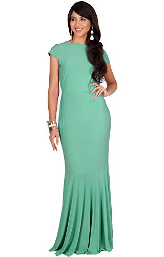 KOH KOH Plus Size Womens Long Cap Short Sleeve Formal Sexy Evening Prom Cocktail Bridesmaids Wedding Party Guest Tube Flowy Cute Fishtail Gown Gowns Maxi Dress Dresses, Moss/Mint Green 3XL 22-24 ()