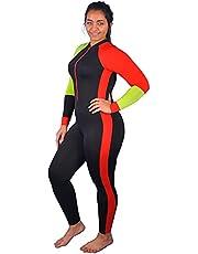 ملابس سباحة ليكرا بغطاء كامل بلون اسود وبرتقالي، كود 366