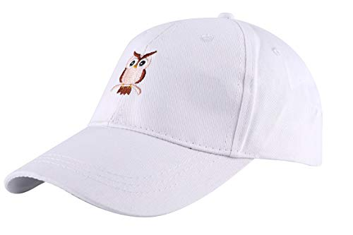 ZLYC Embroidered Cotton Baseball Cap Adjustable Strapback Hat (White)