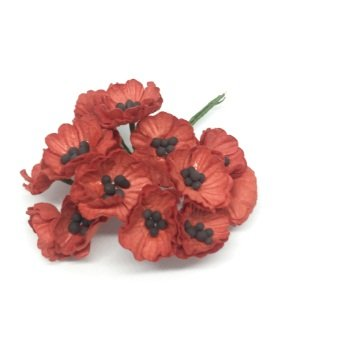 50 pcs Red Poppy Mulberry Paper Flower 20-25 mm scrapbooking wedding doll house supplies card