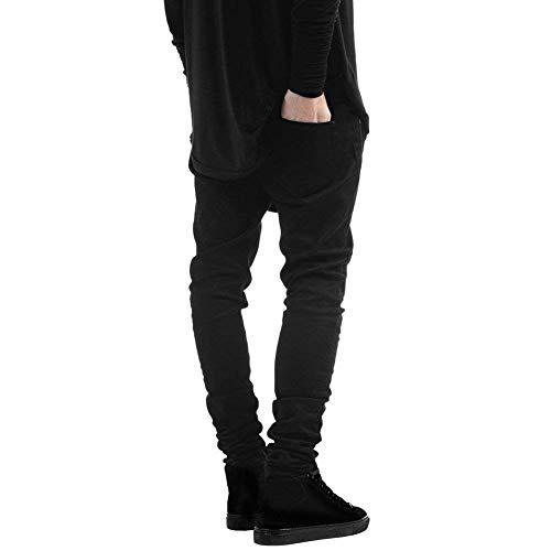 Fascia Fit Pantaloni Stile Casual Ginocchio Semplice Jeans Nero Slim Da Stretch Uomo Strappata Denim In Vita nIpwXq