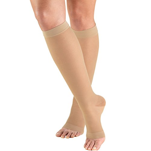 Truform Sheer Compression Stockings, 15-20 mmHg, Women's Knee High Length, Open Toe, 20 Denier, Nude, Medium ()
